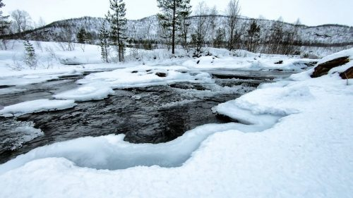Soothing river in the winter forest