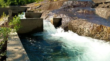 Sound of water rushing down a fish ladder